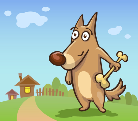 rural areas: cartoon dog with a bone in his hand on the background of rural areas, illustration