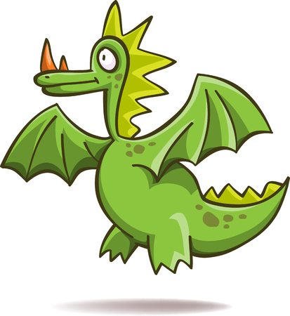 green dragon: Funny green dragon, isolated on white Illustration
