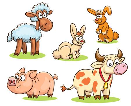 Cartoon set of farm animals - rabbits, sheep, cow, pig isolated on white Illustration