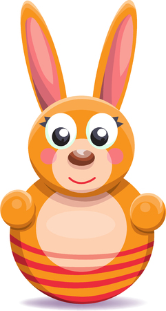 wobbly: roly-poly toy bunny cartoon isolated on white