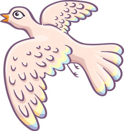 cartoon pigeon  isolated on white Illustration
