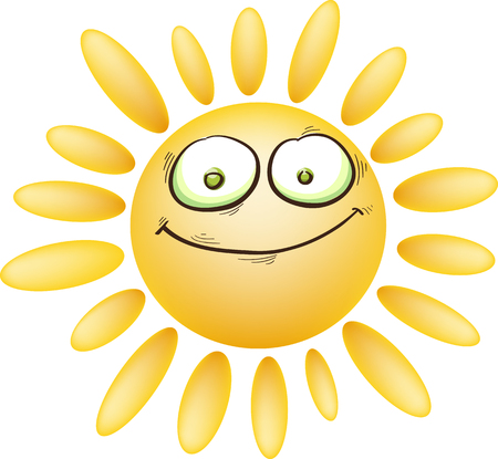 sarcastic: sarcastic cartoon sun with eyes and mouth, isolated on white