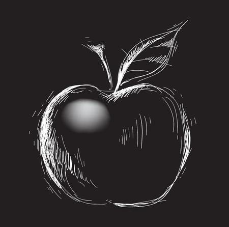 Apple in a prints style on the black, illustration, sketch Illustration