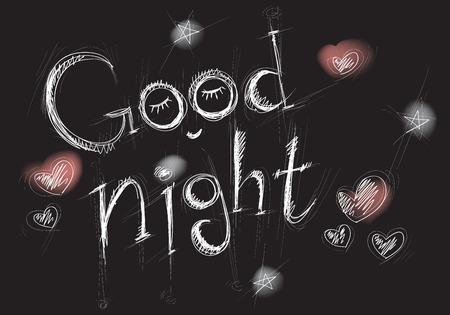 stylized white lettering goodnight on a black background, illustration,  sketch