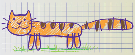 copybook: Cat drawn in childish manner on the copybook sheet of paper