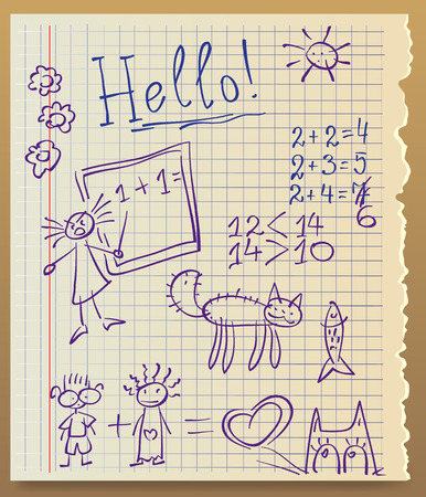 paper from the copybook, outlined a kid, illustration Illustration