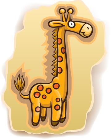 cartoon giraffe on background, illustration, isolated on white Illustration