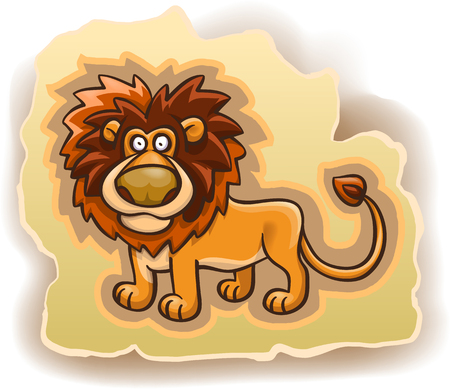 cartoon lion on the background, illustration, isolated on white