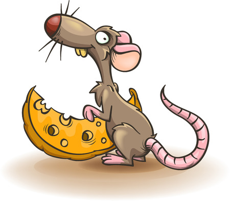 funny mouse and a piece of cheese cartoon isolated on white