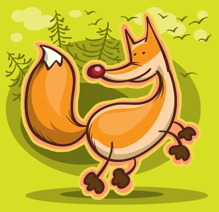 abstract cartoon fox on green forest background, illustration