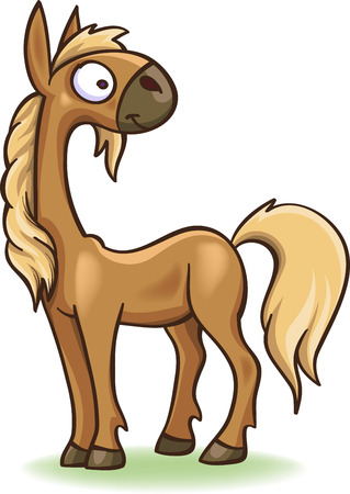 funny cartoon foal, isolated on white Illustration