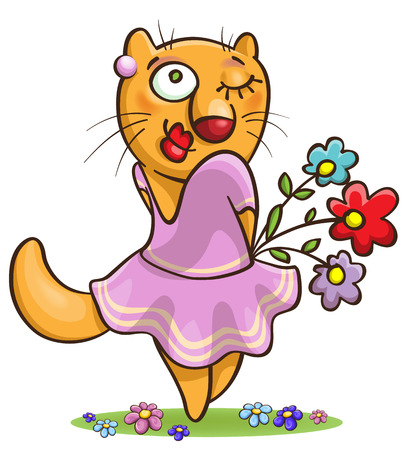 cartoon cat in lilac dress holding flowers, isolated on white Illustration