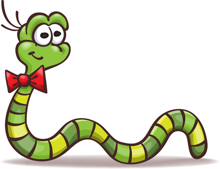 funny cartoon worm with a bowtie on the neck,  isolated on white Ilustração