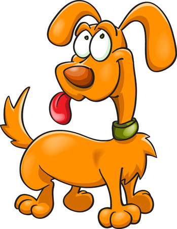 funny orange dog in green collar, cartoon illustration, isolated on white