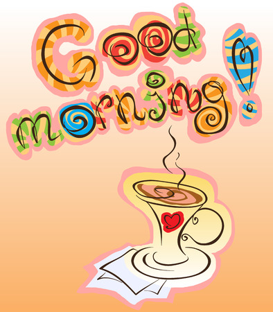 good morning inscription and cup of coffee, vector funny abstraction Illustration