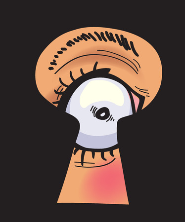 peephole: peeping through the keyhole, abstract vector illustration