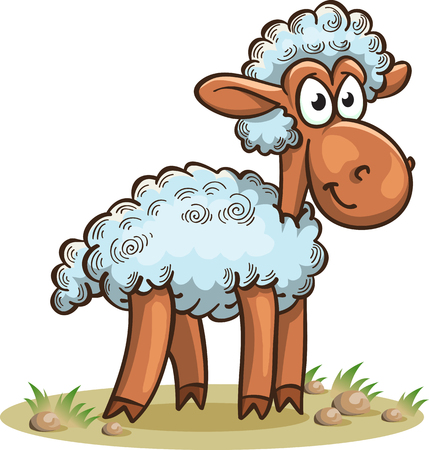 funny cartoon sheep standing on grass, vector illustration, isolated on white