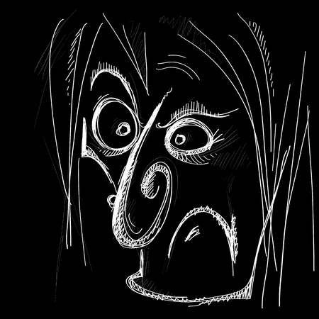 evil caricature of a human face in typographic style on a black background, vector illustration