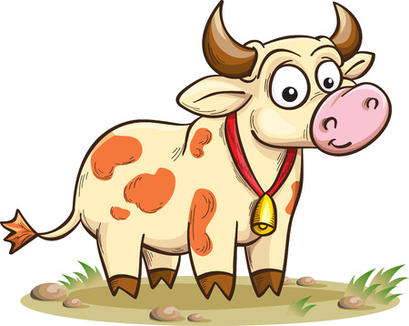 smiling cartoon cow, vector illustration, isolated on white