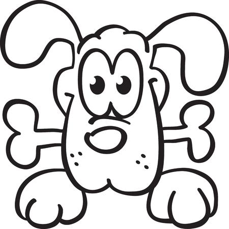 cartoon dog keeps bone, vector, isolated on white Illustration