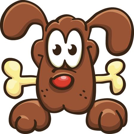 cartoon dog keeps a bone, vector, isolated on white