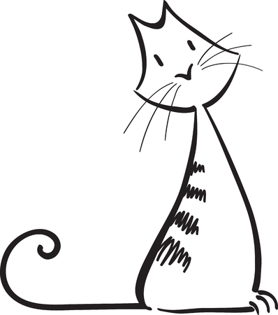 abstract ginger cat, simple vector illustration, isolated on white