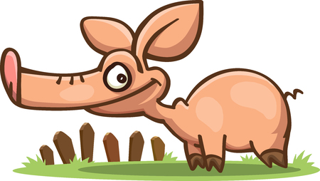 cartoon pig with a long snout standing on the grass, vector, isolated on white