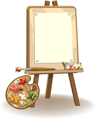 Easel with blank paper for painting, paints, brush and palette, vector illustration, isolated on white Illustration