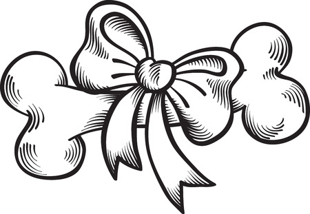 bone with a bow, graphic outline drawing, vector, isolated on white