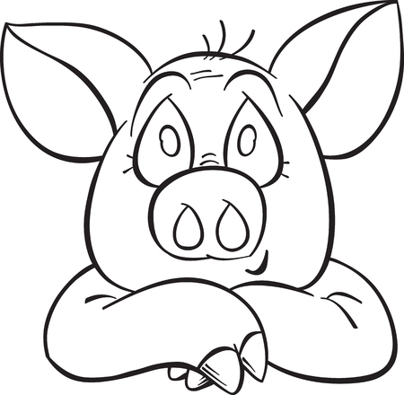 smiling cartoon pig contour, vector, isolated on white
