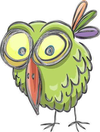 Funny cartoon bird, sketch, vector, isolated on white