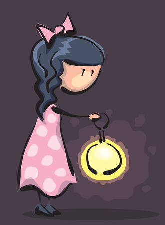 little girl with a flashlight in the dark, abstract vector cartoon