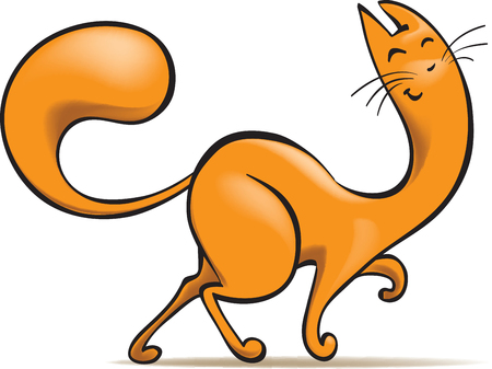 happy ginger cat, cartoon vector illustration, isolated on white Illustration