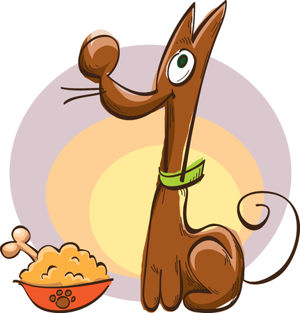 Comic brown dog with a bowl of food and bone, vector illustration, sketch