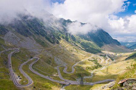 transfagarasan: Dangerous curves from Transfagarasan alpine road - Romania Stock Photo