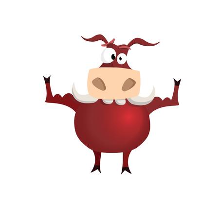 Vector illustration red strong bull Illustration