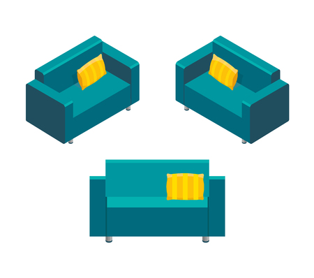 Isometric of home sofa vector icon for web design isolated on white background