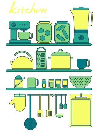 Vector kitchen tools set. Kitchenware collection. Lots of kitchen tools, utensils, cutlery.