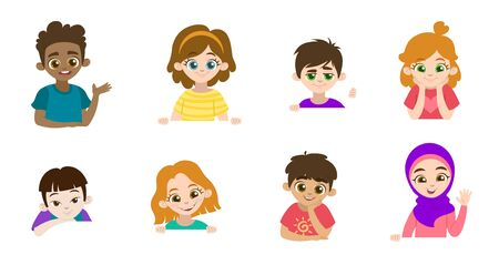 Cartoon set of little children portraits. Children of different nationalities and different gestures. Vector illustration. Place for text. Isolated on a white background for banners.