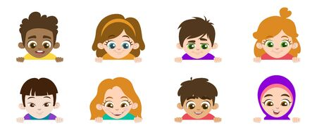 Cartoon set of little children portraits. Children of different nationalities and different gestures look down. Vector illustration. Place for text. Isolated on a white background for banners.