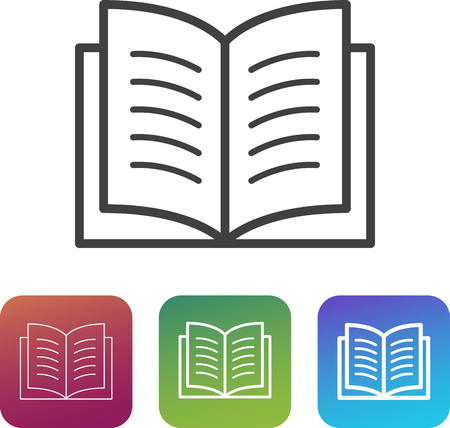 Book icon (simple symbol / pictogram) with additional thin and thick variants. Can symbolize documentation, manual, reading, learning, knowledge, reference guide. Lightweight, minimalist style. Ilustração