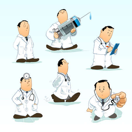 dr: Detailed vector illustrations of a doctor