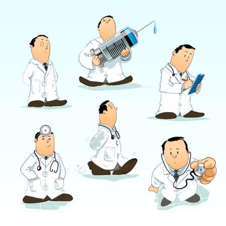 injectie: Gedetailleerde vectorillustraties van een arts Stock Illustratie