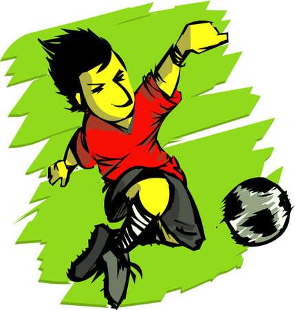 kicking ball: Deportes - acci�n de f�tbol Vectores