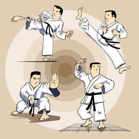 warrior pose: Martial arts - karate pack 2 Illustration