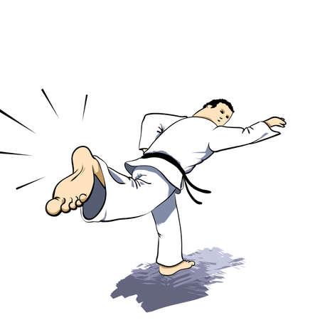 back belt: Artes marciales - karate hacer huelga Vectores