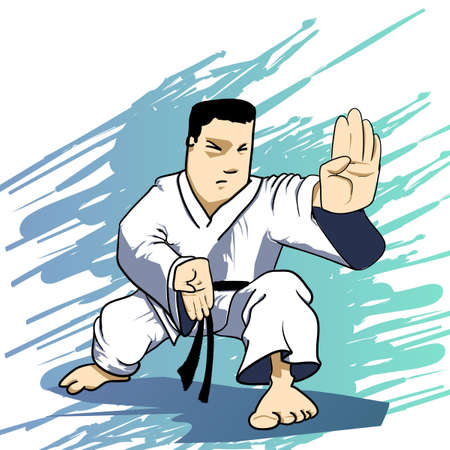 self: Martial arts - karate power strike Illustration