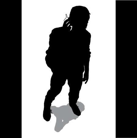 shadow people: Business - man calling Illustration