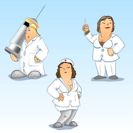 injectie: Gedetailleerde Vector illustraties van artsen en verpleegkundigen