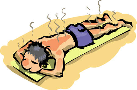 Poor fellow roasting his skin while sun bathing.  Stock Vector - 8668236